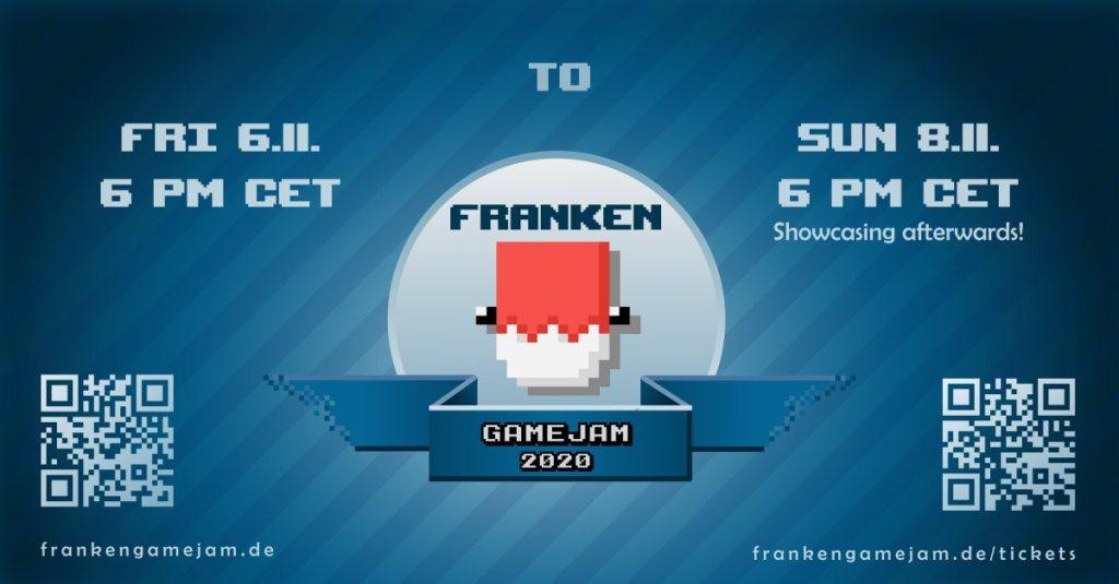 Franken Game Jam 2020 Flyer mit allen wichtigen Daten und QR-Code