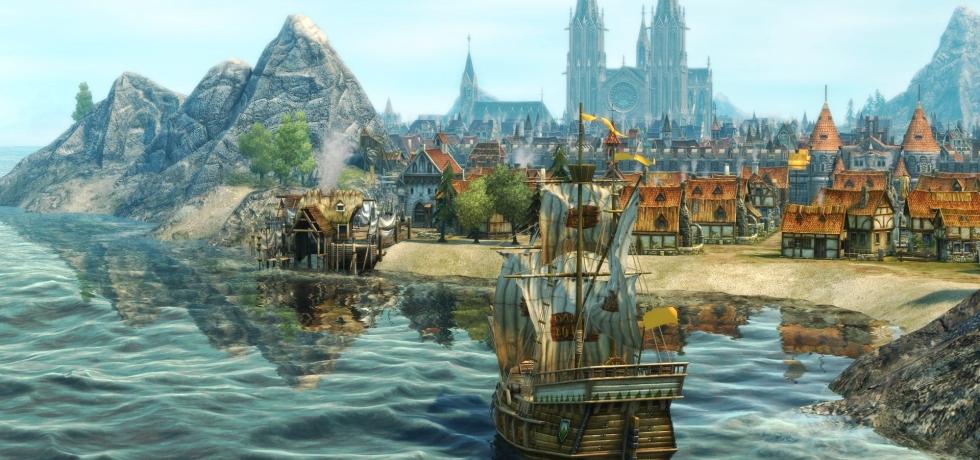 Screenshot Anno 1404 Schiff Stadt Ubisoft
