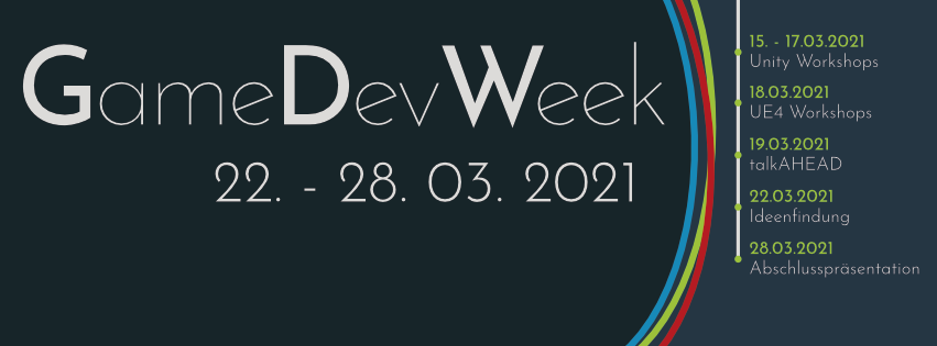 flyer gamedevweek 22. - 28.03.2021 Ablauf