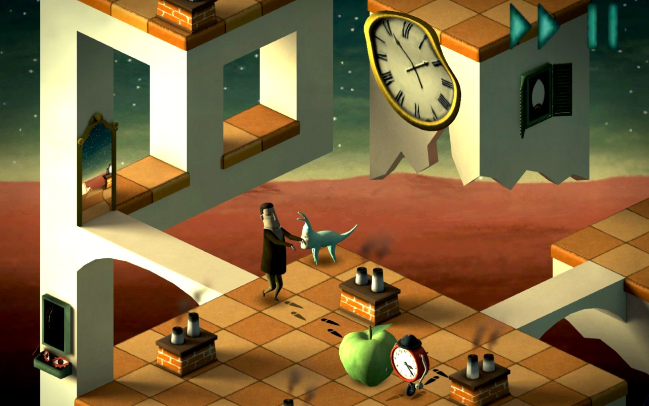 screenshot aus dem videospiel back to bed surrealistisch traumwelt