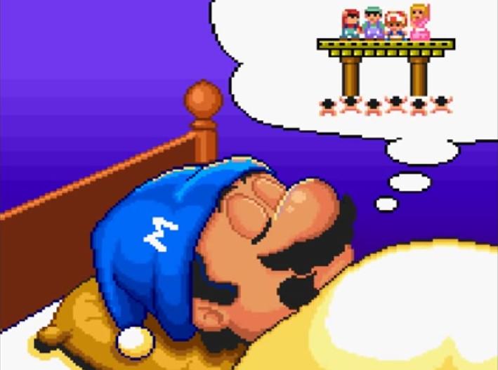 Super Mario schlafen träumen traumblase bett